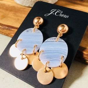 Drop Stone and Disc Earrings Rose Gold Blue